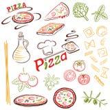 Pizza, makaron Zdjęcie Stock