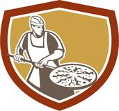 Pizza Maker Baking Bread Shield Retro Royalty Free Stock Image