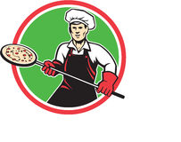 Pizza Maker Holding Peel Circle Retro. Illustration of a baker pizza maker holding a peel with pizza viewed from front set inside circle on isolated background Royalty Free Stock Photography