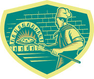 Pizza Maker Holding Peel Crest Woodcut Royalty Free Stock Images