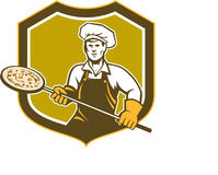 Pizza Maker Holding Peel Shield Retro Royalty Free Stock Images