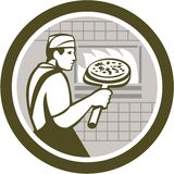 Pizza Maker Holding Peel Side Retro Circle Stock Image