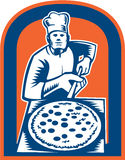 Pizza Maker Holding Pizza Peel Shield Woodcut Stock Photo