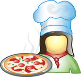 Pizza Maker Icon. Illustration of a pizza maker icon with a pepperoni pizza. This icon is part of the food industry icon collection Royalty Free Stock Photos