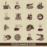 Pizza Maker Icon Black. Set with perfect italian ingredients hot slice isolated vector illustration Royalty Free Stock Photos