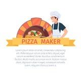 Pizza maker label Stock Images