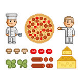 Pizza maker, pizza and ingredients Royalty Free Stock Image