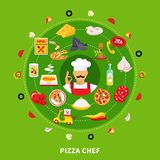 Pizza Maker Round Composition royalty free illustration