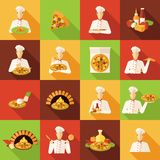 Pizza Makers Flat Icons Set Royalty Free Stock Image