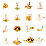 Pizza Makers Flat Icons Set Royalty Free Stock Photo
