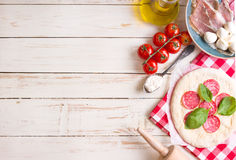 Pizza making background Royalty Free Stock Photography