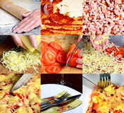 PIzza making collage Royalty Free Stock Photos