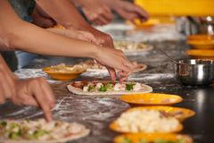 Pizza Making Process Stock Photography