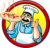 Pizza Man. An happy cook showing his hot pizza Royalty Free Stock Images