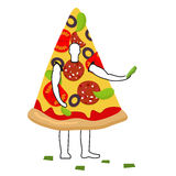 Pizza man mascot promoter. Male in suit slice distributes flyers Royalty Free Stock Photo