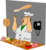 Pizza man tossing pie. Pizza man cartoon character tossing pizza dough in air in restaurant Royalty Free Stock Photography