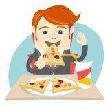 Pizza mangeuse d'hommes de bureau de hippie au café Style plat Photographie stock libre de droits