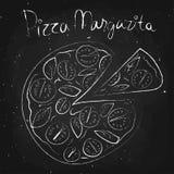 Pizza margarita, drawn in chalk on a blackboard. Vector illustration royalty free illustration