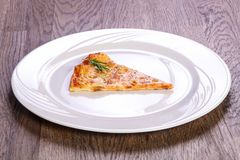 Pizza Margarita slice. With cheese royalty free stock image