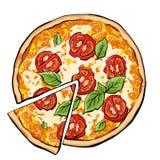 Pizza margarita with slice. Fastfood, sreetfood vector vector illustration