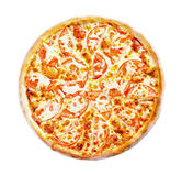 Pizza Margarita top view. Pizza Margarita with cheese and tomatoes top view Royalty Free Stock Photos