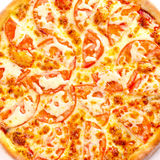 Pizza Margarita top view. Fresh classic pizza of tomato and cheese, increase in the square Stock Photos