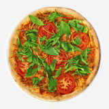 Pizza Margharita with arugula Stock Photos