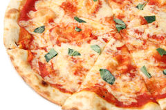 Pizza margherita Abschluss oben Lizenzfreie Stockfotografie