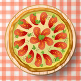 Pizza Margherita with cheese mozzarella, tomato sauce, oregano,. Fresh parsley and species on wooden cutting board on red-white tablecloth. Top view close-up Stock Photos