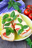 Pizza margherita on french baguette. Rustic style Royalty Free Stock Photos