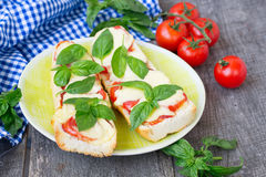 Pizza margherita on french baguette. Rustic style Stock Photography