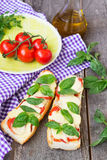 Pizza margherita on french baguette. Rustic style Royalty Free Stock Photography