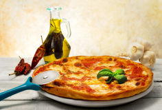 Pizza margherita with hot seasoning Stock Photo