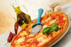 Pizza margherita with hot seasoning Royalty Free Stock Photo