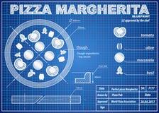 Pizza Margherita ingredients blueprint scheme Stock Photography