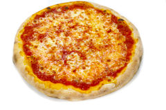 Pizza margherita mozzarela vermehrt sich italienische Lebensmittelpizza, Schinken Oliven explosionsartig lizenzfreies stockfoto