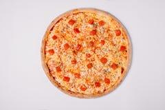 Pizza Margherita odizolowywający na bielu jarosz Zdjęcia Stock