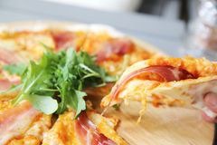 Pizza margherita with parma ham and rocket Royalty Free Stock Photo