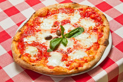 Pizza Margherita Plate Stockbilder