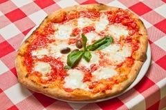 Pizza Margherita Plate Arkivbilder