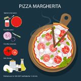 Pizza Margherita recipe. Tasty and fresh italian fast food. Pizza with cheese, tomatoes and herbs Royalty Free Stock Photography