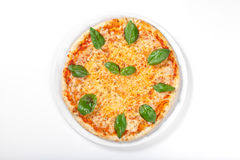 Pizza Margherita on white background Royalty Free Stock Photography