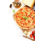 Pizza Margherita on white background Stock Image