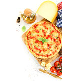 Pizza Margherita on white background Stock Photography