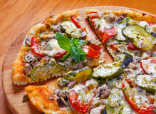 Pizza with marinated cucumber Royalty Free Stock Photos