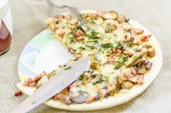 Pizza mat, champinjon, ost, mellanmål, gourmet, bakelse Arkivbild