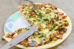 Pizza mat, champinjon, ost, mellanmål, gourmet, bakelse Royaltyfria Foton