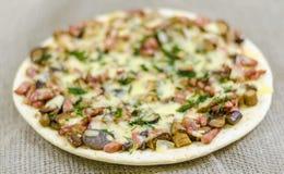 Pizza mat, champinjon, ost, mellanmål, gourmet, bakelse Royaltyfri Foto