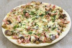Pizza mat, champinjon, ost, mellanmål, gourmet, bakelse Arkivfoto