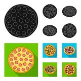 Pizza with meat, cheese and other filling. Different pizza set collection icons in black, flat style vector symbol stock. Illustration Stock Image